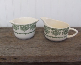Vintage Cream & Sugar Set, Creamer and Sugar Bowl, Green and White Creamer and Sugar Bowl, Floral Pattern