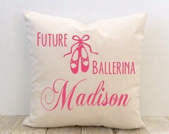 Ballerina Pillow Cover, Ballet, Little Girl, Dancer, Custom, Name, Personalized