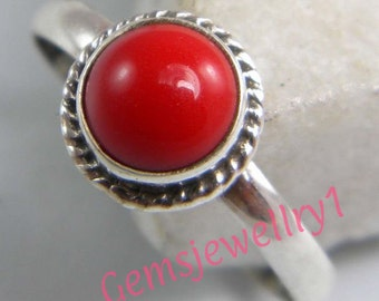 Coral ring, Red Stone Ring, Silver Stone ring,  silver plated ring,  Statement Ring, Solitaire Ring, Metal Ring Size 5 6 7 8 ring-0314140486