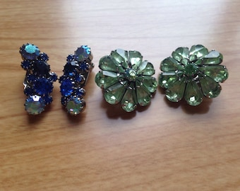 Pair Of Two Antique Jewled Clip On Earrings
