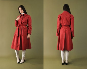Maxi Trench Coat, 70s Belted Trench Coat, Vintage Womens Trench Coat, Red Trench Coat, Classic Trench Coat, Long Belted Jacket, Belted Coat