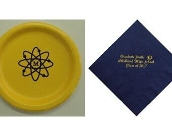 Midland High School Midland Michigan Plates, Midland Chemics plates, MHS Graduation, Chemics napkins, Chemics Grad, Chemic Logo, MHS logo