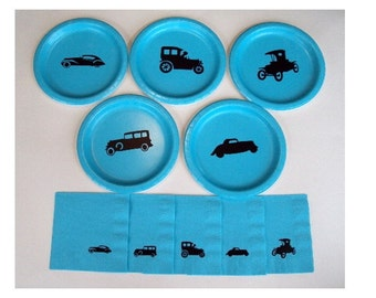Vintage Cars Tableware Set for 10 People