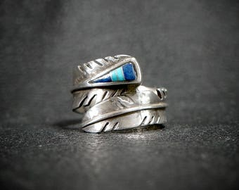 Feather Inlay Ring by Michael Kirk Navajo