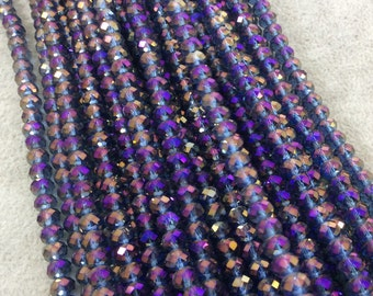"""4mm x 6mm Iridescent AB Finish Faceted Trans. Purple/Lavender Chinese Crystal Rondelle Beads - 17"""" Strand (Approx. 94 Beads) - (CC46-93)"""