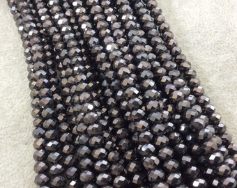 """4mm x 6mm Iridescent Metallic Finish Faceted Opaque Gunmetal Chinese Crystal Rondelle Beads - 17"""" Strand (Approx. 94 Beads) - (CC46-111)"""