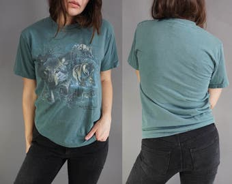SALE* Vtg Wolf Moon T-Shirt || Vintage Tee T-shirt Teal Mohawk Trail || Cotton || S