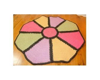 "Hand crochet rug flower pink yellow green purple 30"" round circle bedroom bathroom entry nursery mod"