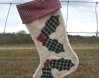 Holly Berries, Christmas Stocking, Rustic Country, Homespun Farmhouse, Windmill Country Threads