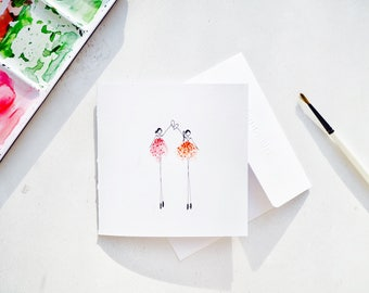 Handmade Illustrated Sisters Birthday card | happy girl card | Best Friends/ Sisters at Heart