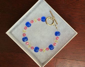 Pink, Yellow and Blue Swarovski Crystal Bracelet toggle clasp