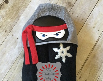 Ninja Warrior Hooded Towel, Ninja Hooded Towel, Ninja Hooded Bath Towel, Ninja Hooded Pool Towel, Ninja Beach Towel, Pool Towel, Bath Towel