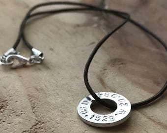 Custom coordinates necklace washer necklace personalize latitude longitude necklace location necklace GPS coordinates gift anniversary gift