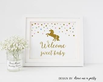 UNICORN Baby Shower , Unicorn Baby Shower Decorations , Unicorn Welcome Baby Sign , Unicorn Welcome Sweet Baby , Sweet Baby Sign , Printable