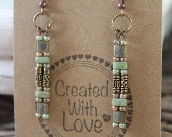 Earrings long beaded boho earrings bohemian gypsy chic dangle earrings gift for her trendy jewelry everyday jewelry green turquoise