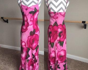 90's Pink Floral Spaghetti Strap Maxi Dress