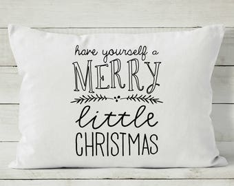 Holiday Pillow Cover - Christmas Pillow - Merry Little Christmas - Decorative Throw Pillow Cover