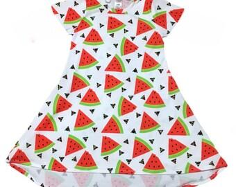 Watermelon Tshirt Dress • Watermelon Hi Low Dress • (Baby Tshirt Dress, Toddler Tshirt Dress, Girls Tshirt Dress,baby hi low dress, birthday