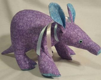 Artie Aardvark plush, stuffed animal, made from a Funky Friends Factory pattern.