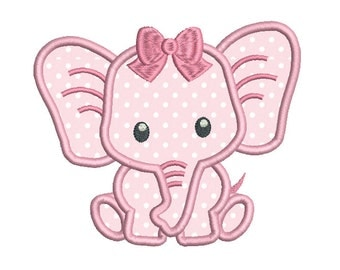 Baby Girl Elephant Machine Embroidery Applique Design, Jungle Animal Machine Embroidery Design, 3 Sizes, Instant Download, No: SA545-2