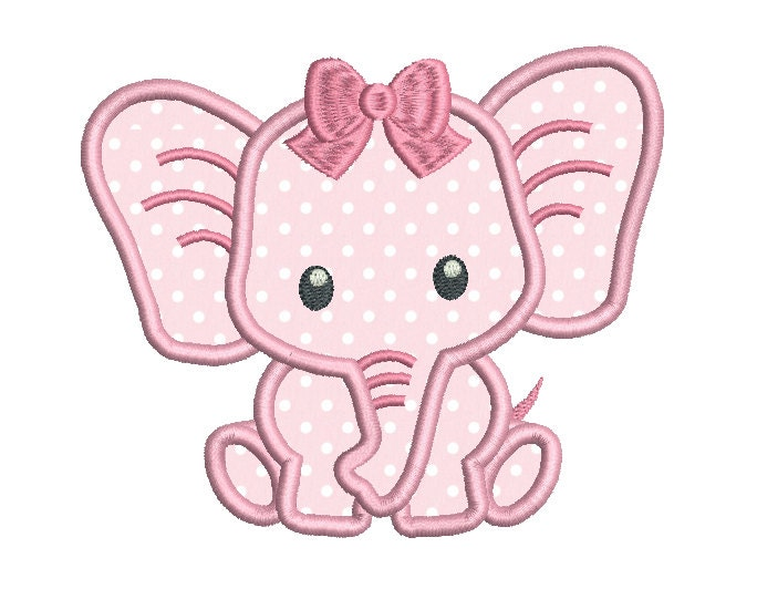 Baby Girl Elephant Applique Machine Embroidery Design Instant