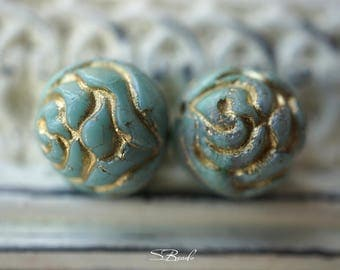 Golden Rose, Flower Beads, Czech Beads, Beads, N2072