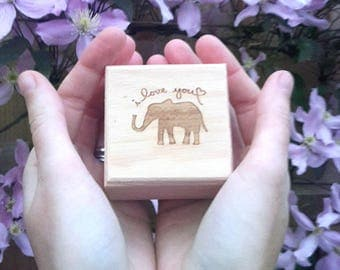 Wedding Ring Box, Engagement Ring Box, Wooden Ring Box, Ring Bearer, Ring Holder, Wedding Gift, Ring box Wedding, Elephant Engraved Ring Box