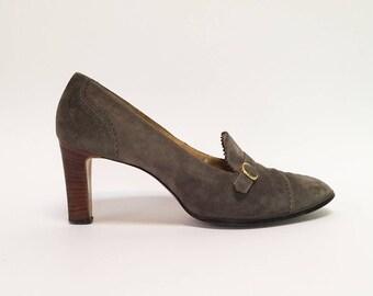 Ingenue Warm Gray Pinked Edge Suede Stacked Heel Pumps
