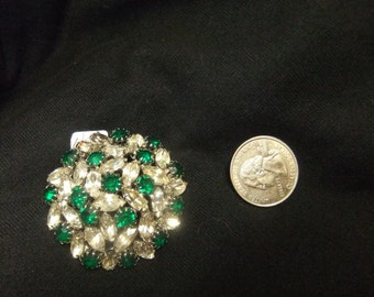 Green & Clear Rhinestone Brooch