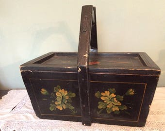 A beautiful early 20th century East European painted wooden Trug/Box.