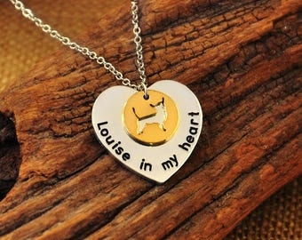Chihuahua necklace,Dog in My Heart,Dog Charm, Dog Silhouette Charm,Personalized Dog Necklace