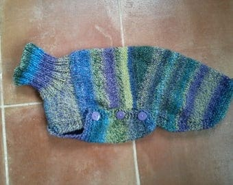 Whippet Jumper in purple, blue and green - Ready to post
