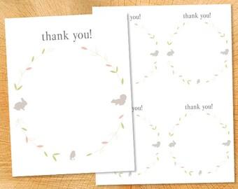 "Printable Thank You: ""Sweet Woodland"" - 4.25x5.5"""