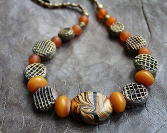 SUMMER SUNSHINE an artisan necklace made using hand crafted beads.  African inspired a those long summer days.  OOAK
