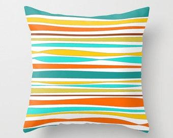 Patio Pillow Cover, Outdoor Pillows Yellow Pillow Turquoise Pillow Orange  Pillows Decorative Pillows Colorful Striped