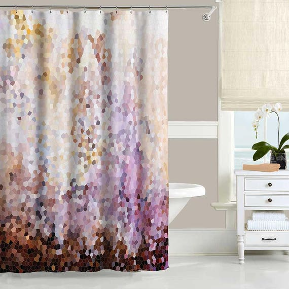 Items similar to abstract shower curtain brown pink for Purple and yellow bathroom accessories