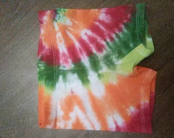 Tie dye toddler girl's bike shorts size 18 months, hippie baby clothes, girl's tie dye shorts