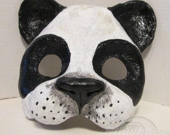 Panda Bear mask, forest animal, Panda, Bear mask, Animal costume, animal totem, hand painted, masquerade mask, spirit mask