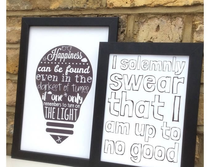 Custom Harry Potter inspired quote print | choice of two or buy as a set | Can be personalised. I solemnly swear I am up to no good.