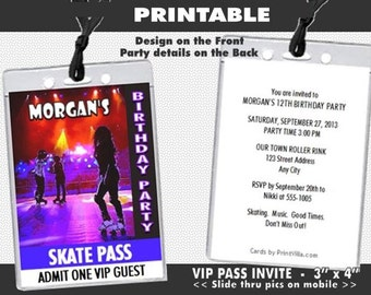 Roller Skating VIP Pass Invitation, Printable, Roller Skates Party, Girl Birthday Party, Invites for Roller Rink