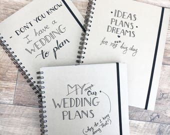 wedding planning notebook handwritten modern calligraphy style a4 kraft ruled notepad with dividers
