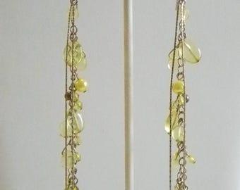 Long Pale Yellow Beaded Chain Pierced Earrings