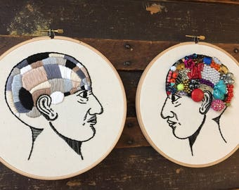 Pair of Phrenology Heads, Male and Female Phrenology Head, Medical Art, Psychology Gift, Female Mind vs. The Male Mind, Hand Embroidered