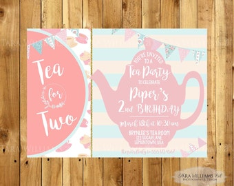 Tea Party Birthday Invitation - Shabby Chic - Tea For Two -Pink and Gold - Printable - Custom - You Print - Birthday Party Invitation
