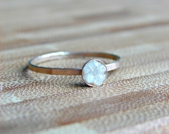 Raw Diamond Ring, Diamond Engagement Ring, April Birthday, Valentine's Day Gift for Woman, Proposal Ring, Starter Ring for Her, Anniversary