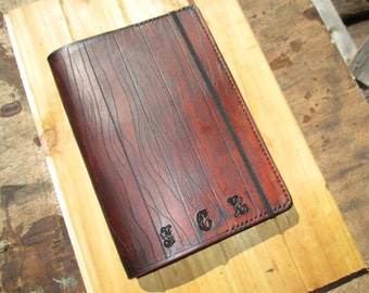 Personalized Leather Journal With A Wood Appearance. Writing Journal. Book Cover.  Hand Cut, dyed and Stitched.