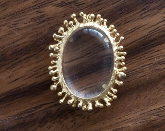 Large Clear Glass Pendant necklace Supply Gold Tone Organic Oval 32 mm