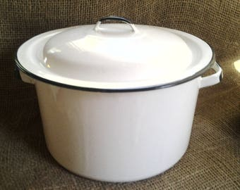 White And Black Enamelware Pot with Lid
