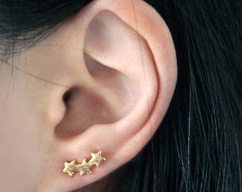 NEW Gold plated Cute Triple star Stud Earrings