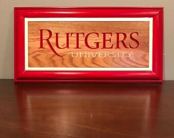 Rutgers University wooden plaque.  Solid Oak